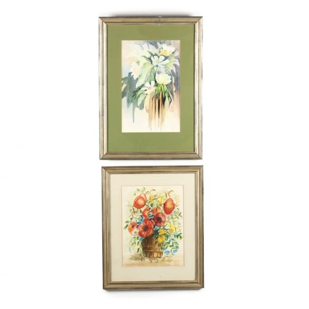 two-vintage-still-life-watercolor-paintings