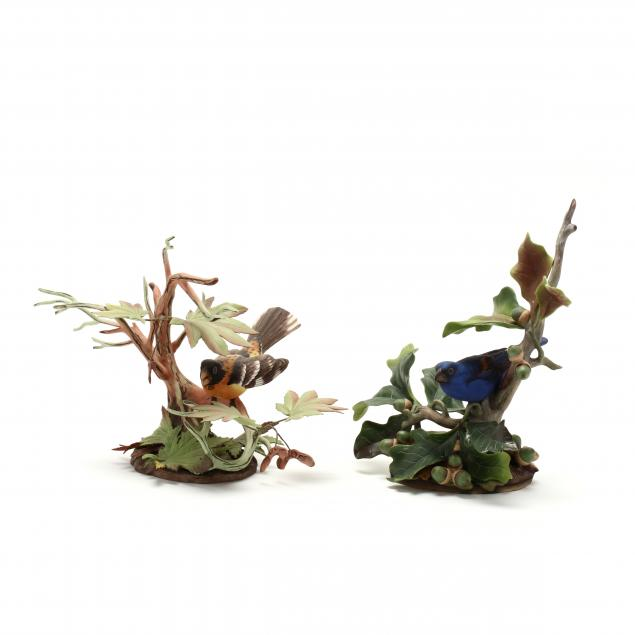 boehm-two-porcelain-grosbeak-sculptures