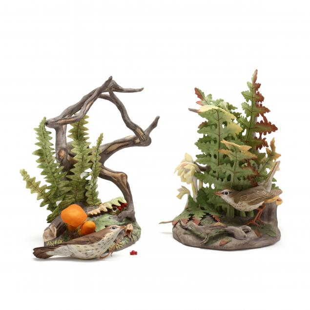 boehm-two-porcelain-northern-water-thrush-sculptures