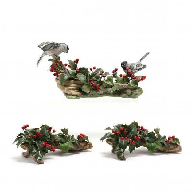 boehm-porcelain-black-capped-chickadee-and-pair-of-holly-candlesticks