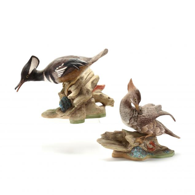 boehm-pair-of-hooded-merganser-porcelain-sculptures