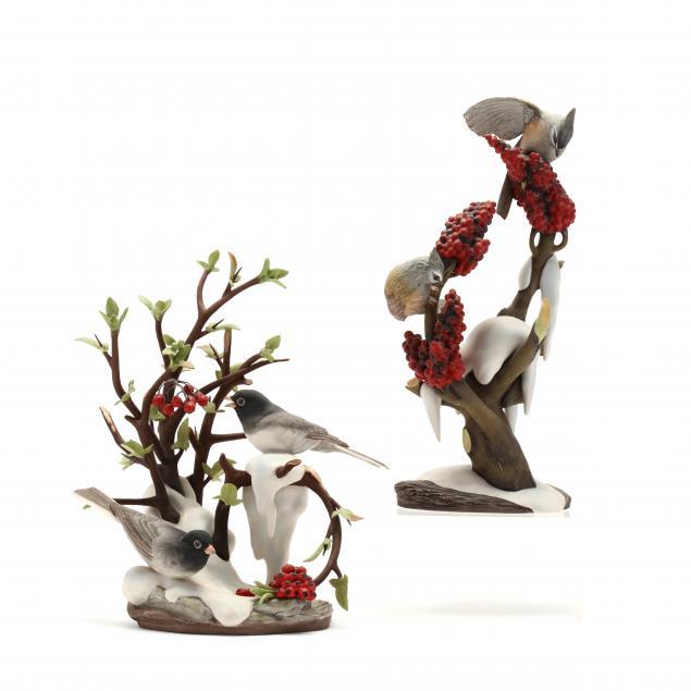 boehm-tufted-titmice-and-junco-winter-porcelain-sculptures