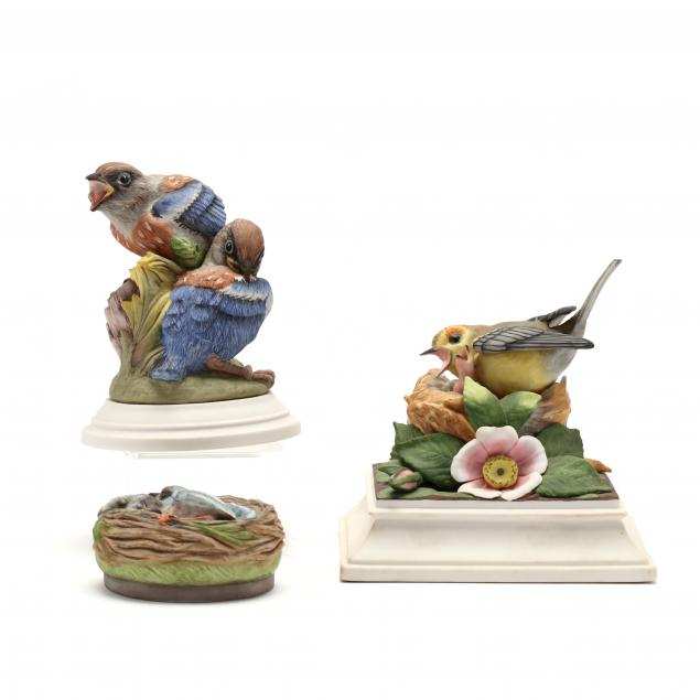 three-boehm-fledgling-porcelain-sculptures
