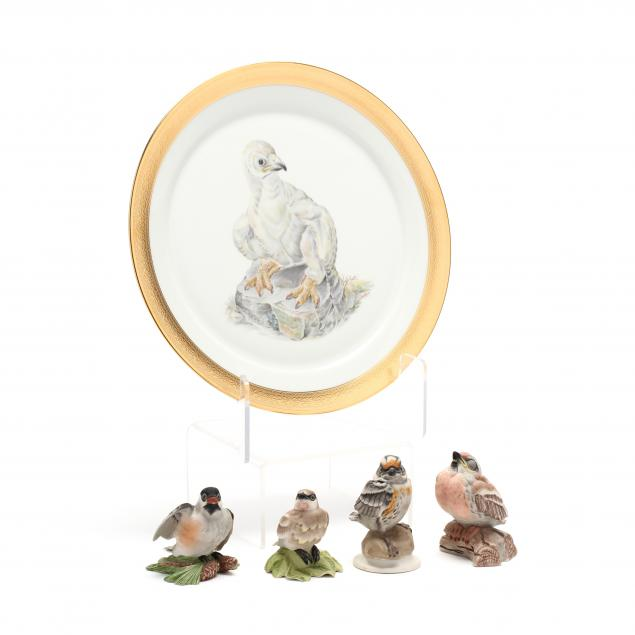 boehm-four-fledgling-porcelain-figures-and-limited-edition-plate