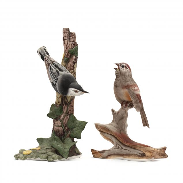 boehm-tree-sparrow-and-nuthatch-porcelain-sculptures