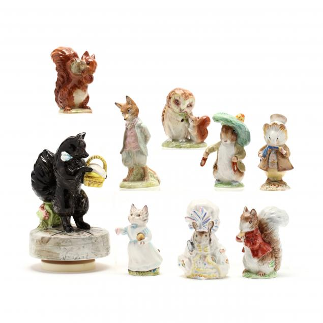 nine-beatrix-potter-porcelain-animal-figurines