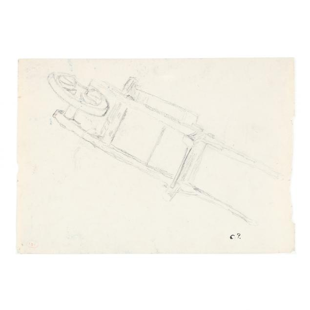 camille-pissarro-danish-french-1830-1903-wheelbarrow-a-double-sided-drawing