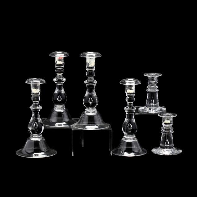 six-steuben-crystal-candlesticks