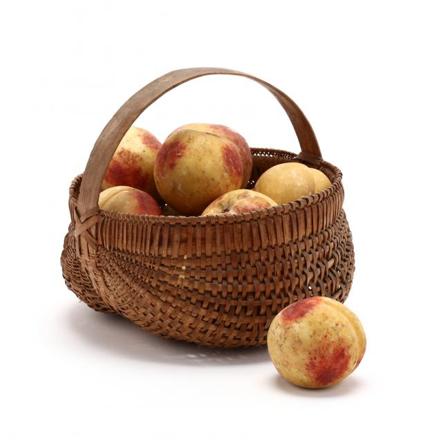 13-antique-painted-stone-peaches-and-basket