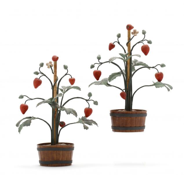 pair-of-tole-strawberry-plants
