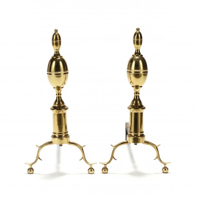 colonial-williamsburg-pair-of-chippendale-style-brass-lemon-top-andirons