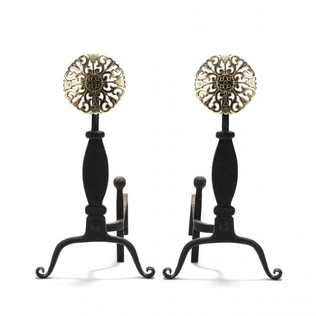 virginia-metalcrafters-pair-of-pierced-brass-andirons