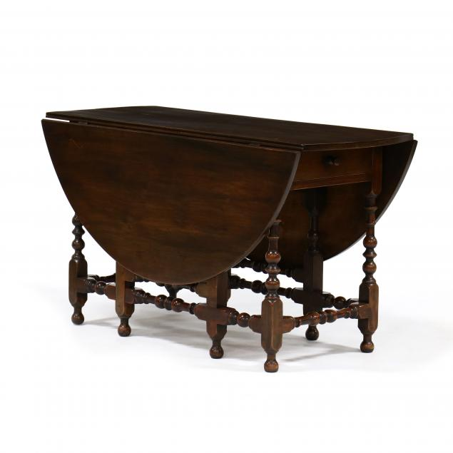 william-and-mary-style-walnut-drop-leaf-gateleg-dining-table