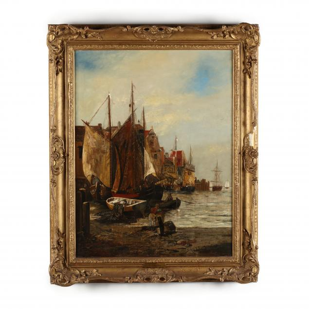 f-hulsling-dutch-19th-century-harbor-at-low-tide