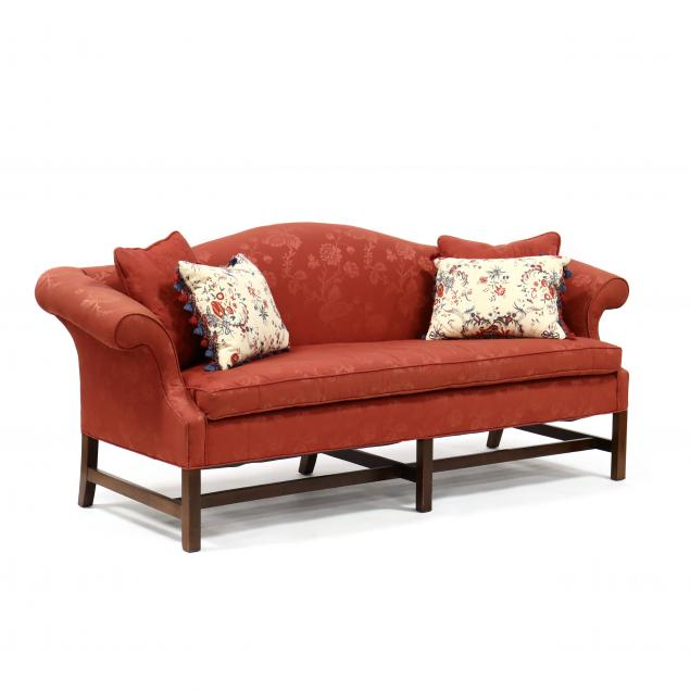 chippendale-style-mahogany-upholstered-camel-back-sofa