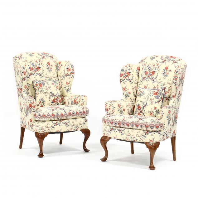 pair-of-queen-anne-style-walnut-upholstered-wing-chairs