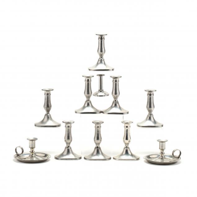 stieff-eleven-pewter-candlesticks-for-williamsburg-restoration
