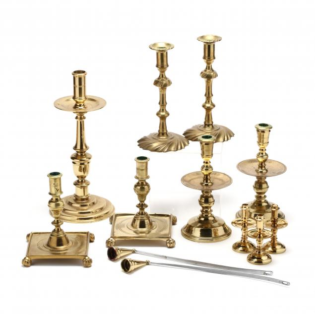 virginia-metalcrafters-ten-brass-candlesticks-and-snuffers-for-williamsburg-restoration
