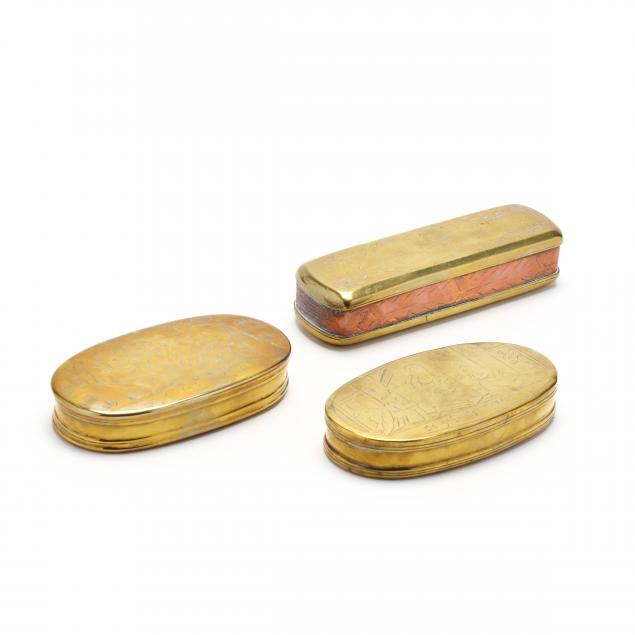three-antique-german-brass-tobacco-boxes