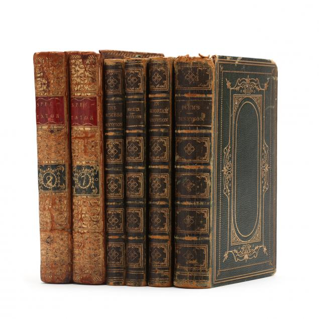 six-antique-english-leatherbound-books
