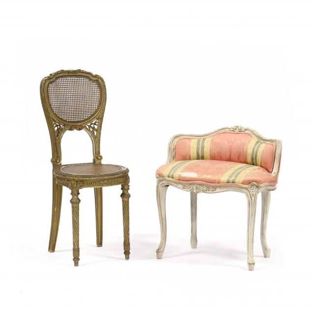 louis-xvi-style-carved-and-gilt-caned-seat-chair-and-vanity-bench