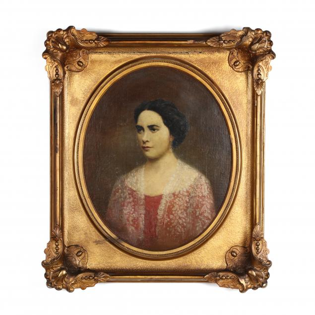 american-school-19th-century-portrait-of-a-woman-in-red