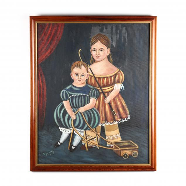vintage-folk-art-style-painting-of-two-children