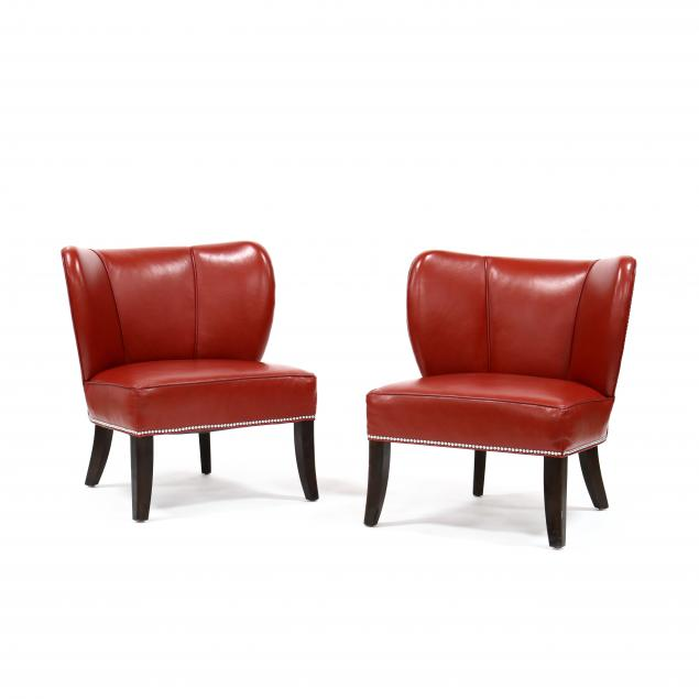 pair-of-contemporary-red-leather-oversized-side-chairs