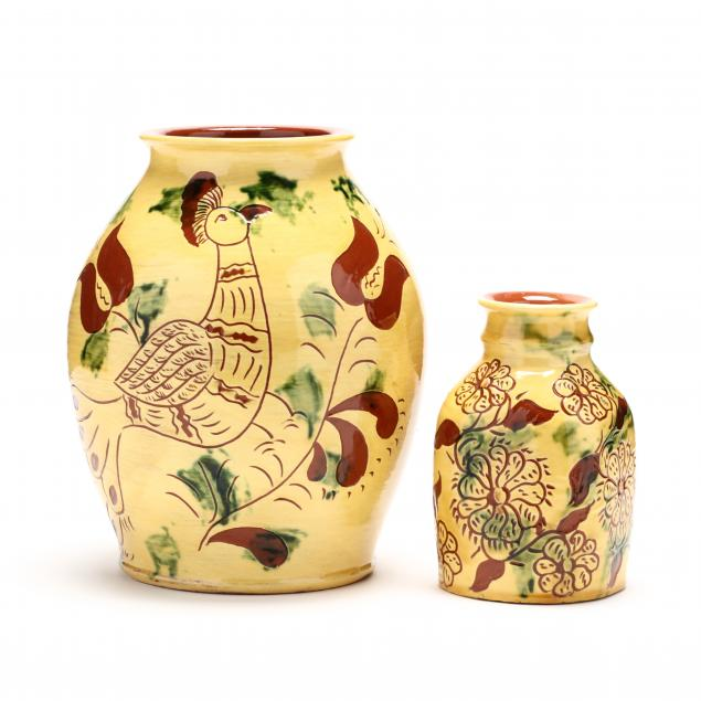pa-pottery-breininger-pottery-two-decorated-vases
