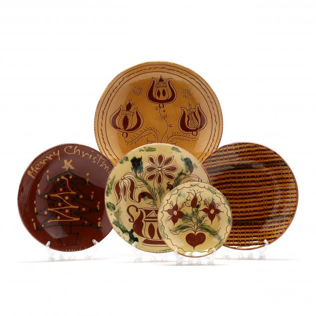 pa-pottery-brenininger-pottery-five-decorated-plates