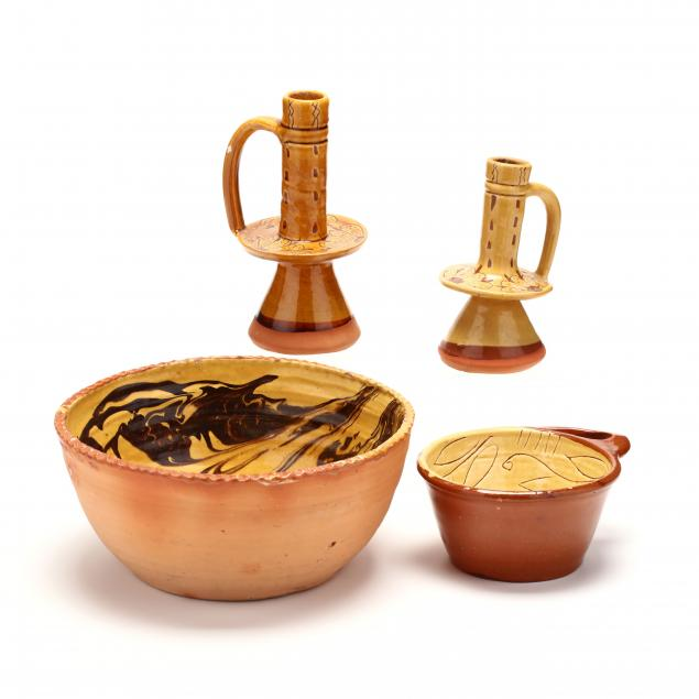 decorated-pottery-four-pieces