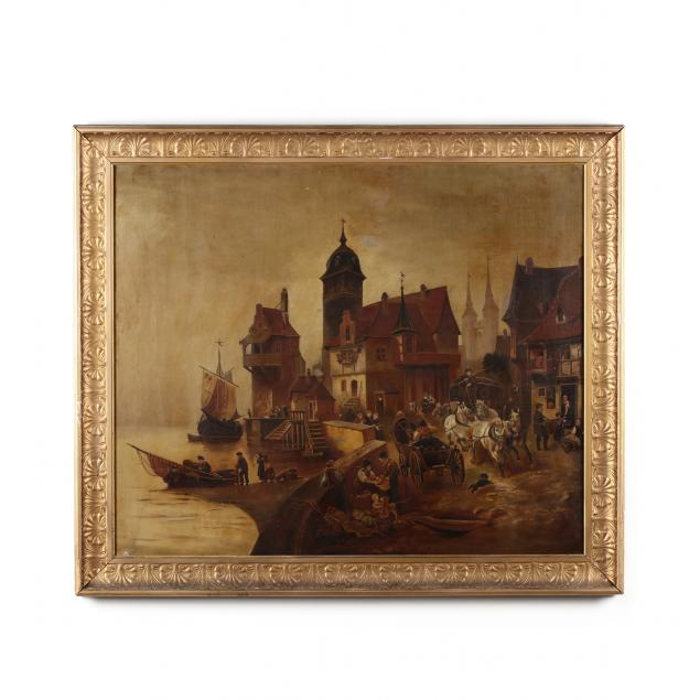 antique-painting-of-a-bustling-harbor-scene