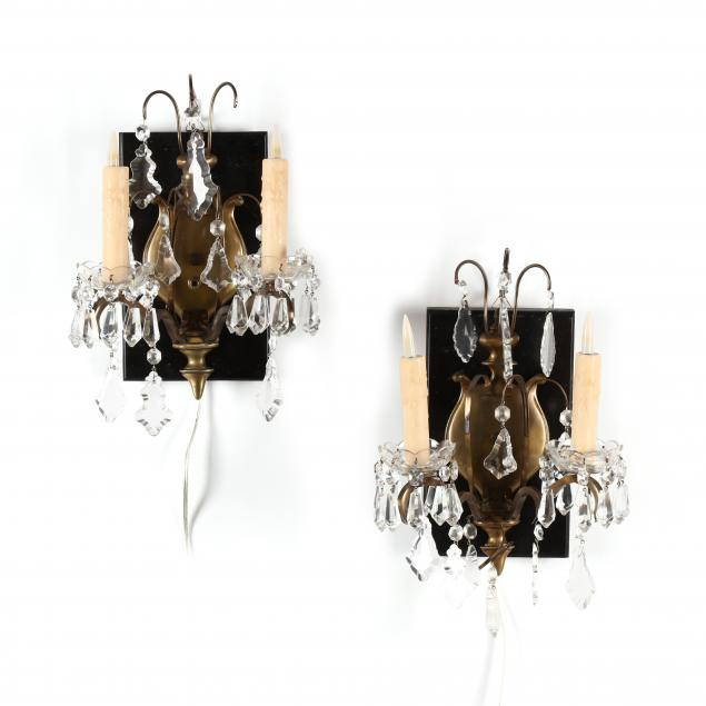 pair-of-continental-brass-drop-prism-sconces