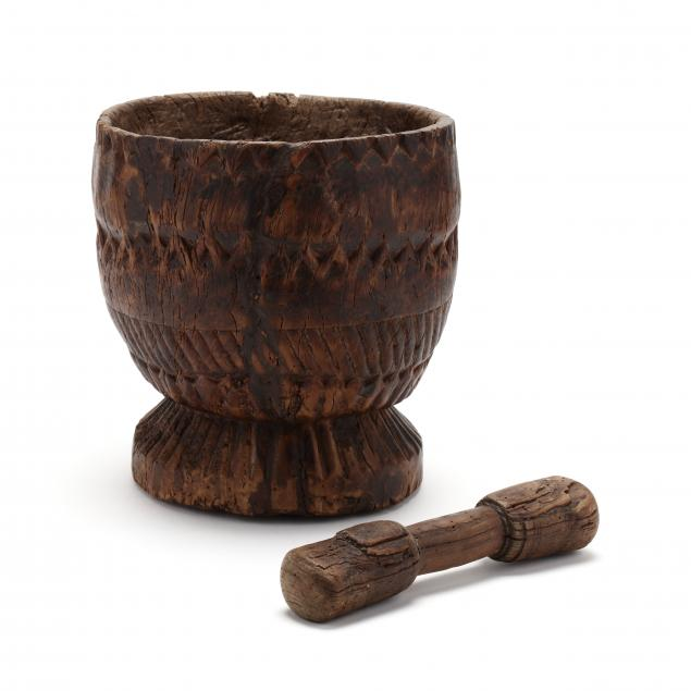 tribal-carved-wood-mortar-and-pestle