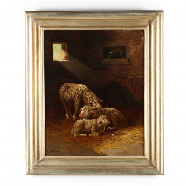 att-lethea-minnick-ca-nj-1891-1985-sheep-in-a-stable