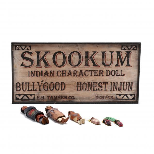 six-vintage-skookum-dolls-and-decorative-sign