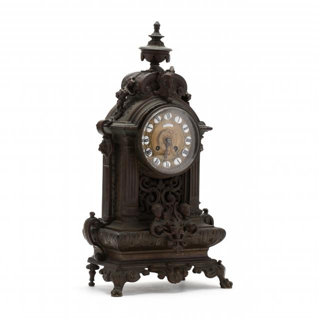 a-french-renaissance-revival-bronze-mantel-clock
