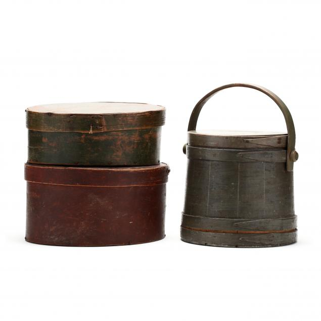 two-antique-pantry-boxes-and-a-firkin-bucket