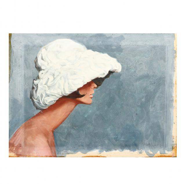 don-neiser-1918-2009-illustration-of-a-woman-in-a-hat