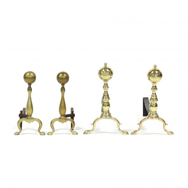 two-pairs-of-brass-andirons