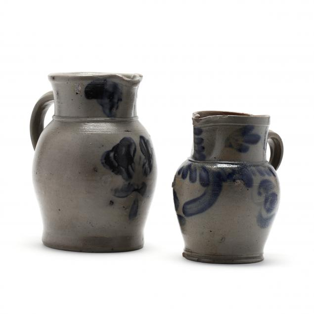 two-cobalt-decorated-stoneware-pitchers