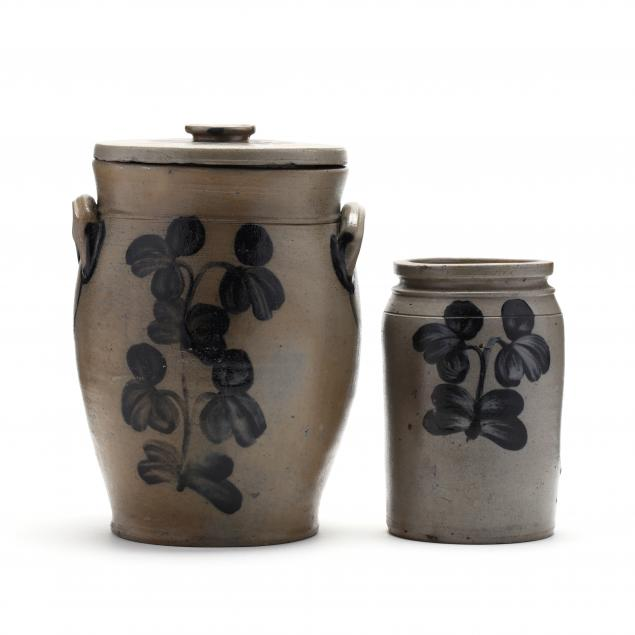 two-stoneware-jars-with-cobalt-decoration