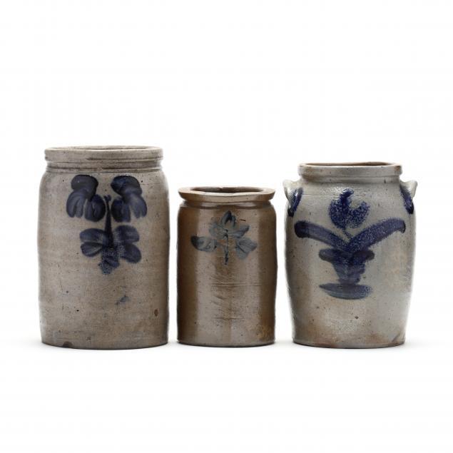 three-cobalt-decorated-stoneware-jars