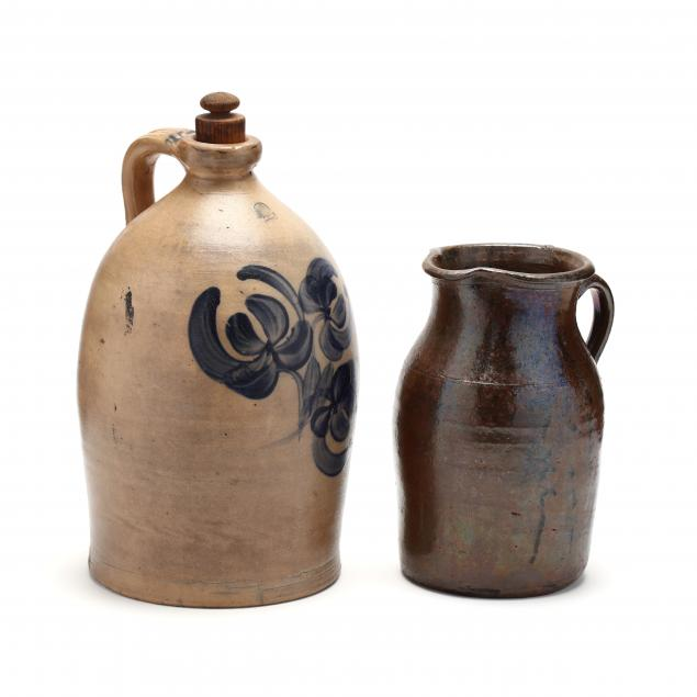 stoneware-cobalt-decorated-jug-and-pitcher