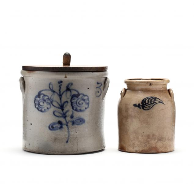 two-cobalt-decorated-stoneware-storage-crocks