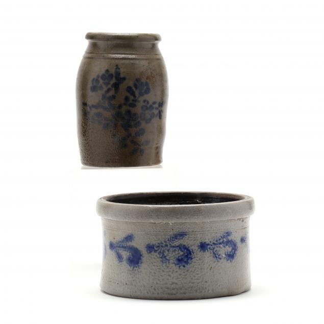 cobalt-decorated-stoneware-crock-and-jug