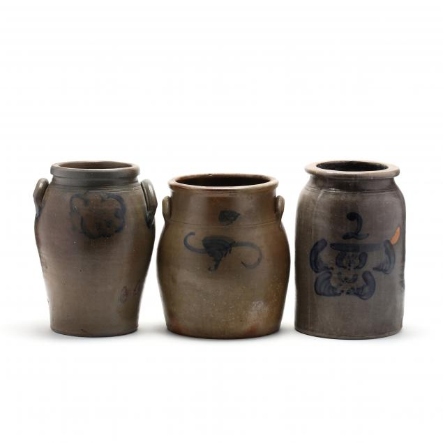three-stoneware-cobalt-decorated-crocks