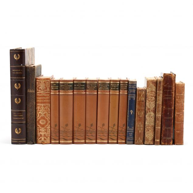 sixteen-assorted-leatherbound-european-books-most-from-larger-sets