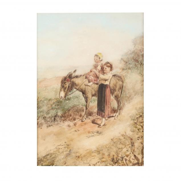 a-victorian-watercolor-painting-of-a-mother-child-with-donkey