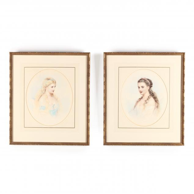 a-pair-of-victorian-watercolor-portraits-of-young-beauties